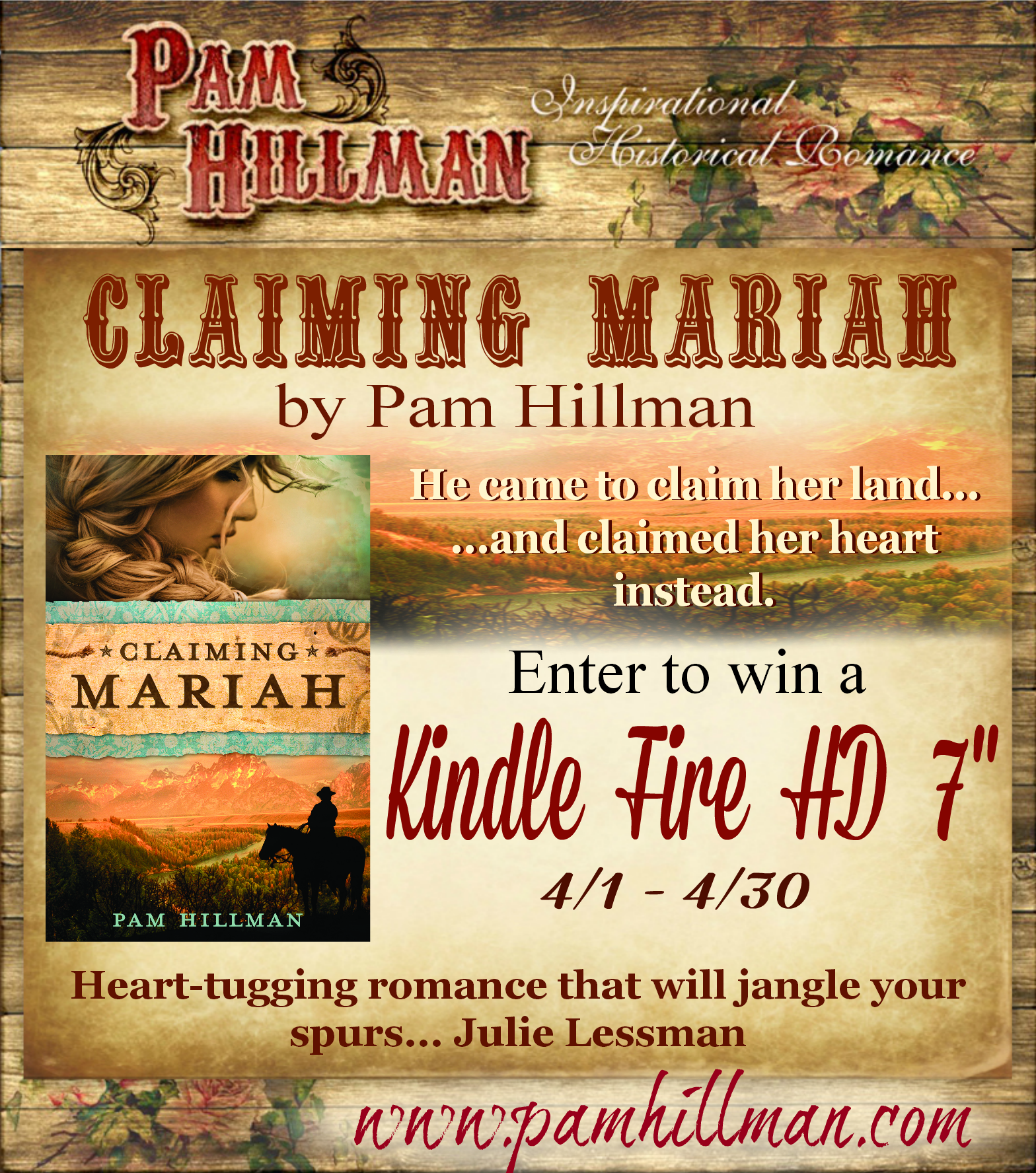 "Enter to win a Kindle Fire HD 7""  April 1-30, 2014 Click on Claiming Mariah"